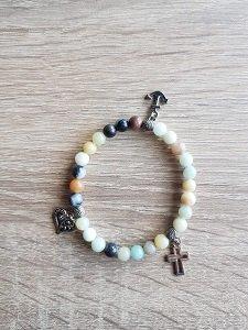 Dames armband Amazoniet met Geloof Hoop Liefdebedels