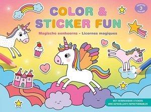 Kleur- stickerboek met unicorns