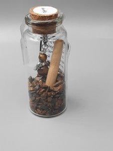 Glazen flesje met beschermengel van Tijgeroog