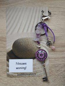 Tassenhanger Sleutel Nieuwe Woning! Amethist