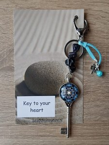 Tassenhanger Sleutel Key to your heart Blauwvloed