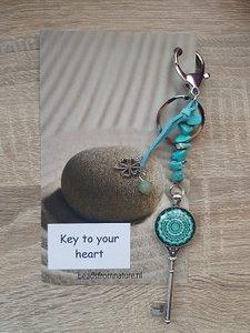 Tassenhanger Sleutel Key to your heart Turquoise