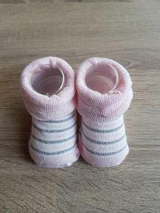 Baby sok roze met strepen