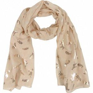 Beige sjaal met gouden dieren