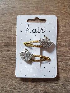 Set goudkleurige haarspelden, zilverkleurige zwaan