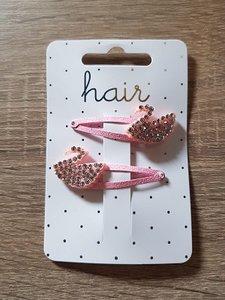Set rozekleurige haarspelden, zilverkleurige zwaan