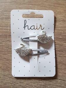 Set zilverkleurige haarspelden, zilverkleurige zwaan