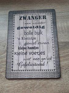 Zwanger, houten bordje