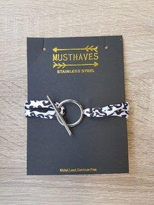 Stainless steel armband zilverkleurig met zwart/wit panterprint