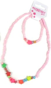 Sieradenkinderset, kralen armband en ketting roze