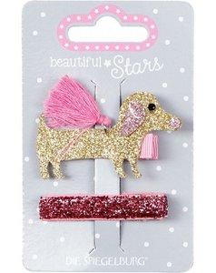 Haarclips hond (roze)