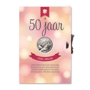 50 jaar, geluksmunt met kaart