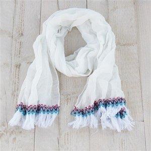 Sjaal, wit met franjes