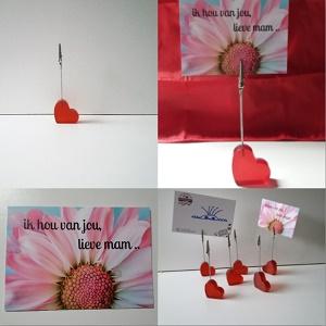 Kaartje ik hou van jou, lieve mama met memoclip hart