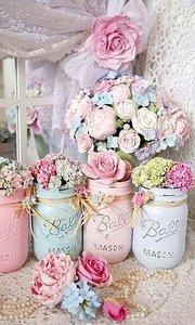 Diamond Painting, potjes met bloemen, pastel