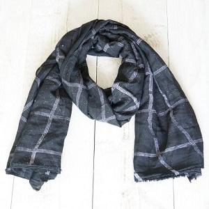 Sjaal, zwart met glitter
