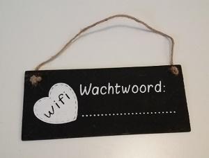 Krijtbordje, wifi wachtwoord.....