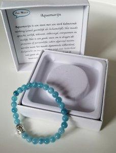 Natuursteen Aquamarijn met Boeddha armband