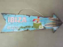 Houten pijl bord Ibiza San Antonia Beach (blauw)