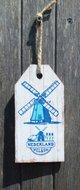 Houten bordje Noordzee, welkom. (blauw/wit, molen)