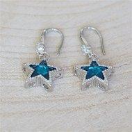 Oorbellen, zilverkleurig/blauw ster