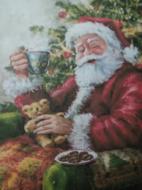 Kerstman aan de koffie