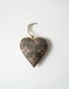 Metalen hart, blauw/groen met bloemen