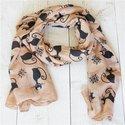 Bruine sjaal met poezen